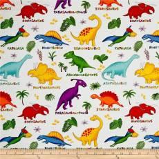 Patchworkstoff Quilt Stoff Dinosaurier mit Bezeichnung