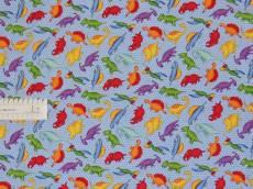 Patchworkstoff Quilt Stoff Dinosaurier auf blau