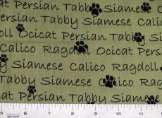 Patchworkstoff Quilt Stoff Schriftzüge mit Katzenarten auf grün