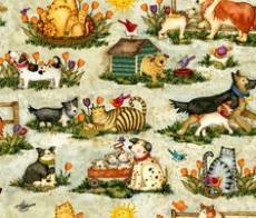 Patchworkstoff Quilt Stoff Hunde und Katze auf der Wiese