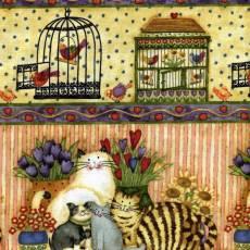 Patchworkstoff Quilt Stoff Katze und Vogelkäfig, Streifen,Border Reststück von 0,90 x 1,10 m