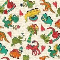 Patchworkstoff Quilt Stoff *i love you this much* Dinosaurier auf beige mit Schrift