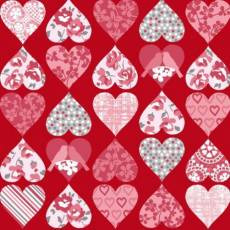Patchworkstoff Quilt *Hugs and kisses* Herzen auf rot