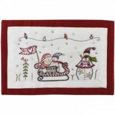 Stickbild Nr. 656 Quand noel s`en mele -N°4 Schlittenfahrt Schneemänner mit Weihnachtsmann