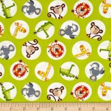 Patchworkstoff Quilt Stoff *Safari Drive* grün mit Tierchen in Kreisen