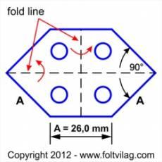 Schablone, Template 90 Grad Long Hexagon 26mm, 30 Teile