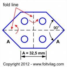 Schablone, Template 90 Grad Long Hexagon 32mm, 25 Teile