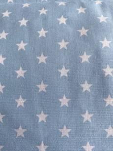 Patchworkstoff  Beistoff Hellblau mit weißen Sternen Reststück ca. 74x140 cm