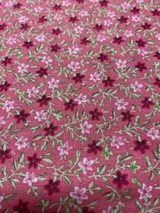 Patchworkstoff  Beistoff Blumen auf Rosarot Reststück ca. 45x110m