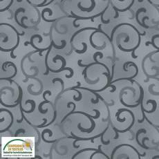 Patchworkstoff Stoff Quilt *Basic Twist* Graublau mit Ranken Stoffabschnitt 50x110cm