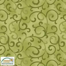 Patchworkstoff Stoff Quilt *Basic Twist* Giftgrün mit Ranken Stoffabschnitt ca. 50x110cm