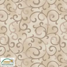Patchworkstoff Stoff Quilt *Basic Twist* Beige / Braun mit Ranken Stoffabschnitt ca. 50x110cm