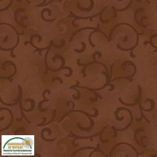 Patchworkstoff Stoff Quilt *Basic Twist* Ranke auf Dunkelbraun Stoffabschnitt