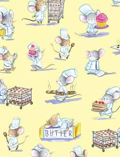 Patchworkstoff Stoff Quilt; Goldige Mäuse Konditor Koch Stoffabschnitt 50x110 cm