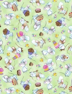 Patchworkstoff Stoff Quilt Mäuse Konditoren  Stoffabschnitt ca. 50x110cm