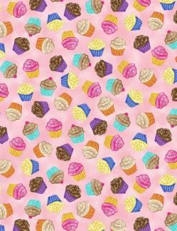 Patchworkstoff Stoff Quilt; Verstreute Cupcakes auf rosa Stoffabschnitt ca. 50x110 cm