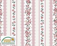 Patchworkstoff Quilt Stoff Emily Roses Streifenstoff weiß mit rosaner Bordüre