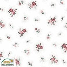 Patchworkstoff Emily Roses; Rosen klein auf weiß