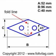 Schablone Template Diamond Rhombus Raute 52 mm 14 Teile 45 Grad Rh 14