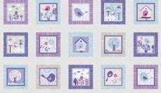 Patchworkstoff  Panel 60 x 110 cm *Tweet Together* Vogel weiß hellblau violett STe213855