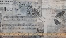 Patchworkstoff Quilt Stoff *Piano Forte* Postkartenmotive mit Schmetterlinge und Noten auf grau