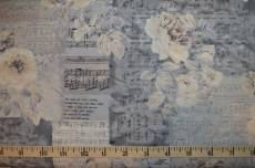 Patchworkstoff Quilt Stoff *Piano Forte* Postkartenmotive mit Rosen und Noten auf grau
