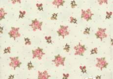 Patchworkstoff Quilt *Peaceful Garden* Kleine Rosen auf weiß mit kleinen rosa Punkten