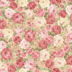 Patchworkstoff Quilt *Peaceful Garden* Rosen auf creme