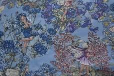 Patchworkstoff Elfe, Fee, Flower Fairy, Beistoff blau