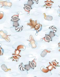 Patchworkstoff Stoff Quilt  *Snow Day* Tiere im Schnee (hellblau)