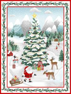 Baumwollstoff *Peace and Goodwill* Panel (90cm breit) Weihnachtsszene StE 5199p-68