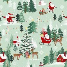Baumwollstoff *Peace and Goodwell* Winterszene mit dem Weihnachtsmann