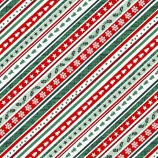 Baumwollstoff *Peace and Goodwill* Diagonaler Weihnachtsstreifenstoff