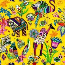 Baumwollstoff *Ubuntu* Buntes Design mit Giraffen, etc. auf gelbem Hintergrund