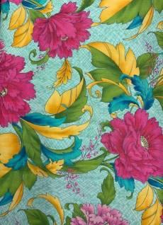 Baumwollstoff *Dianthus Floral* Blumen auf hellblauem Hintergrund