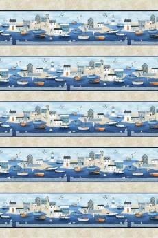 Baumwollstoff; Streifenstoff Boote; Möven *Sailors Rest*