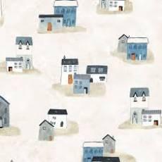 Baumwollstoff; Häuser in einer Lanschaft *Sailors Rest*