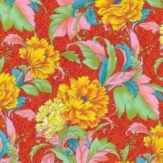 Baumwollstoff *Dianthus Floral* Blumen auf orangenem Hintergrund