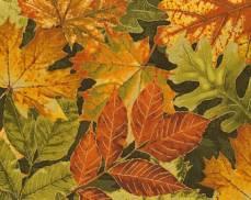Baumwollstoff Herbstblätter auf schwarz (metallic)