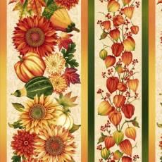 Baumwollstoff *Autumn Streifenstoff mit Sonnenblumen, Kürbissen