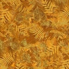 Patchworkstoff Goldene Herbstblätter (metallic-Look)