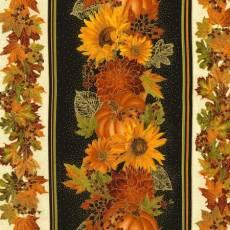 Patchworkstoff; Streifenstoff Sonnenblumen und Blätter