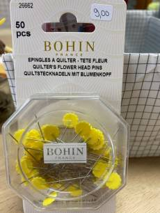 Bohin Quiltstecknadeln mit Blumenkopf Größe 50mm x 0,60 mm Flowerpins