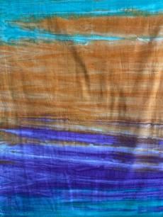 Batikstoff *Celestial* Farbverlauf von grün/Orange/Lila