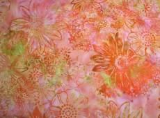 Batikstoff; *Shrimp* Orange mit Blumen