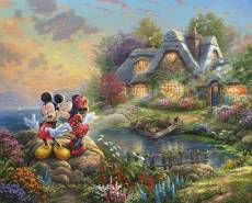 Baumwollstoff Panel Mickey and Minnie Sweetheart Cove