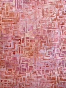 Batikstoff in der Farbe Rose mit grafischem Muster