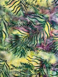 Batikstoff; Grüne Blätter auf grün/gelb/braunem Hintergrund