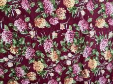 Patchworkstoff Blumen weinrot creme rosa REST 96 cm x 110 cm VIP-4000