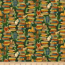 Patchworkstoff Forest Fables Gestapelte Bücher